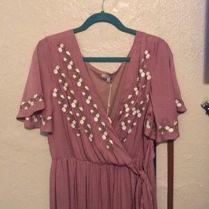 Mauve faux wrap maxi dress
